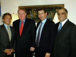 comissioner robert slater former acting governor dick codey and brett harwood with dr kazmir