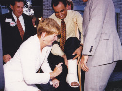 former nj governor christie whitman signing dr kazmir s cast