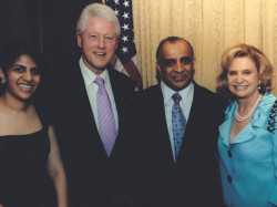 former president bill clinton congresswoman carolyn maloney sima kazmir and dr kazmir