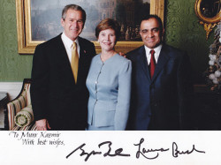 president george w bush first lady laura bush and dr kazmir